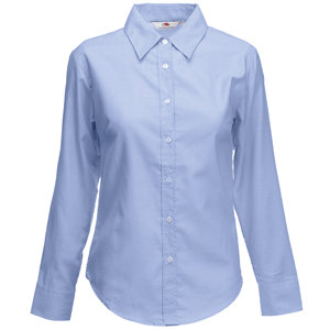"Рубашка ""Lady-Fit Long Sleeve Oxford Shirt"", голубая, размер M"