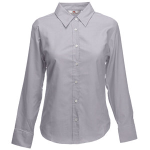 "Рубашка ""Lady-Fit Long Sleeve Oxford Shirt"", серая, размер M"