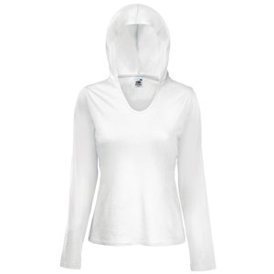 "Футболка ""Lady-Fit Lightweight Hooded T"" белая, размер XL"